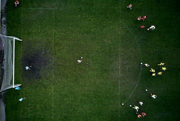 view of the football fields from above