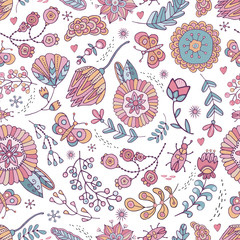 Seamless pattern flowers, grass, butterfly, beetle in vector. Boho style. Cute, hand-drawn, background for children s theme design, holidays, greetings, weddings. Rustic, naive ornament.