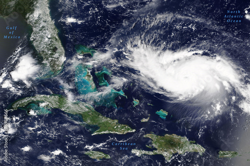 Poster Personal Hurricane Dorian in the Carribean Sea on its way to US mainland in August 2019 - Elements of this image furnished by NASA