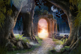 Archway in an enchanted fairy garden landscape, can be used as background