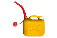 Old Plastic Five-liter Fuel Tank In Yellow Color For Transporting And Storing Petrol With A Funnel For Fuel. Isolated  On A White Background With Clipping Path.
