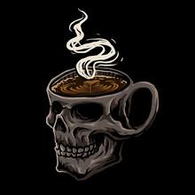 Glass Skull Coffee Vector
