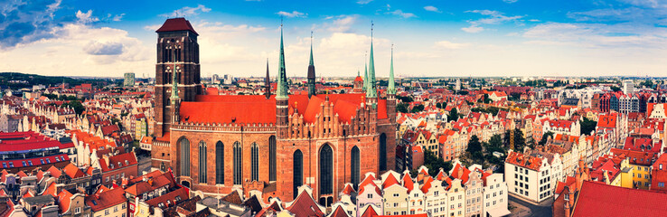St. Mary's Cathedral, Old Town in Gdansk, Poland - panorama