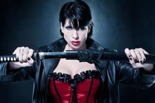 Beautiful, Dangerous, Sexy Woman With Katana Sword Like Action Movie Hero