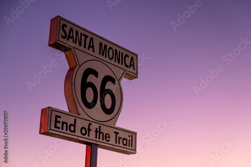 Historic Route 66 sign at the Santa Monica Pier, California. Canvas Print
