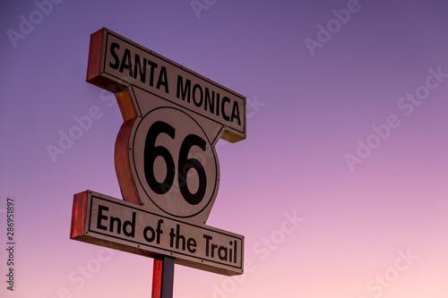 Route 66 Historic Route 66 sign at the Santa Monica Pier, California.