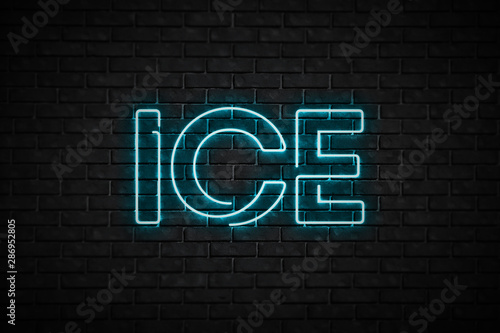 Light blue neon sign ice on a brick wall
