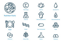 Nutrition Facts Icon In Outline Style Suitable For Label Modern Product And Content. Symbols Of Common Nutrients Food Products.