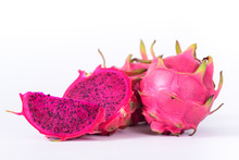 Red Dragon Fruit Isolated On W...
