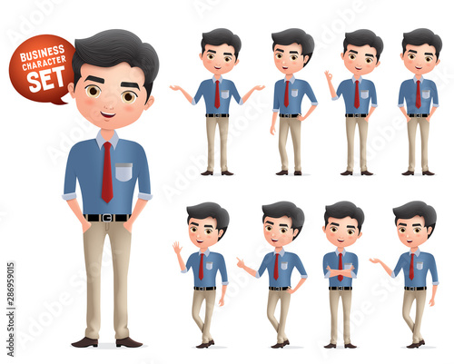 Male professional business characters vector set Wallpaper Mural