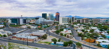 Cloudy Skies Aerial Perspective Downtown City Skyline Tucson Arizona