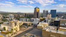 Blue Skies Aerial Perspective Downtown City Skyline Tucson Arizona