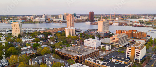 Photo  Aerial View over Portsmouth Virginia Across the Elizabeth River to Norfolk