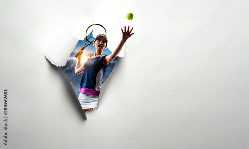 Fototapety, obrazy: Paper breakthrough hole effect and tennis player