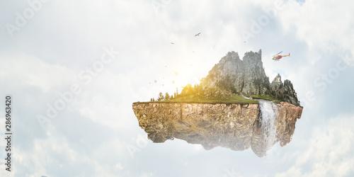 Photo sur Toile Les Textures Summer mountain hills landscape and cloudy sky