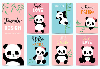 FototapetaCollection of birthday background set with panda,bamboo.Editable vector illustration for birthday invitation,postcard and sticker.Wording include hello