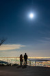 月と夜景が美しい六甲山の展望台