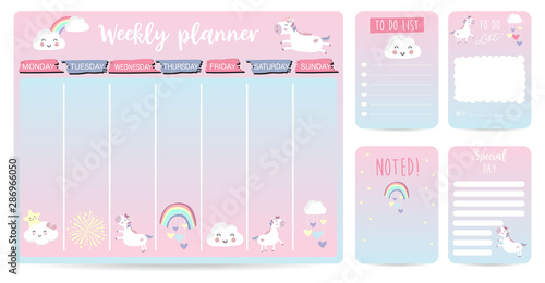 cute weekly planner background for kid with unicorn,rainbow,cloud Canvas Print