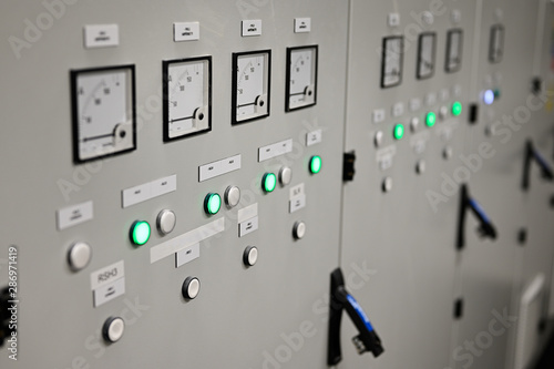 Ammeters and signaling with control in substation. Canvas Print