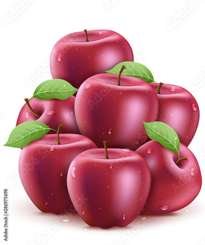Fresh Red Wet Apples with Water Drops 3D Realistic Stacked in White Isolated Background Poster. Vector Illustration