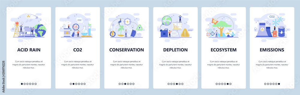 Fototapeta Mobile app onboarding screens. Earth pollution, co2 gas emission, save the planet, nature conservation. Vector banner template for website and mobile development. Web site design flat illustration
