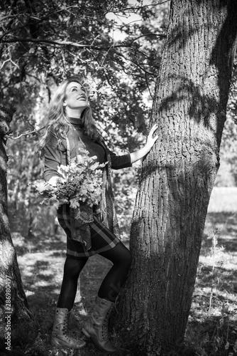 Canvas Prints Illustration Paris Autumn golden time, portrait of fashionable woman in park outdoors