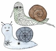Cartoon Snail Mummy And Snail ...