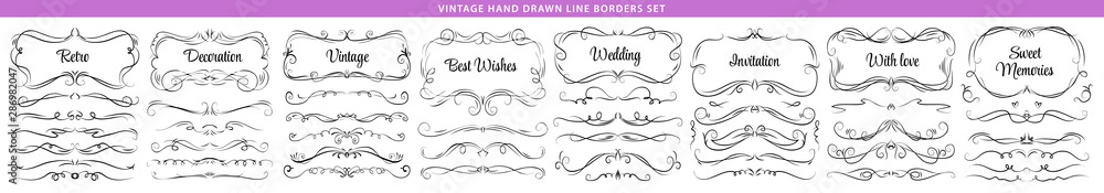 Fototapeta Hand drawn vector ornate swirl doodle vintage calligraphic design elements. Borders, frames, dividers set for wedding greeting and invitation card.