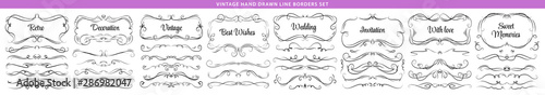 Obraz Hand drawn vector ornate swirl doodle vintage calligraphic design elements. Borders, frames, dividers set for wedding greeting and invitation card. - fototapety do salonu