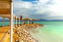 Dead Sea Beach On A Sunny Day,...