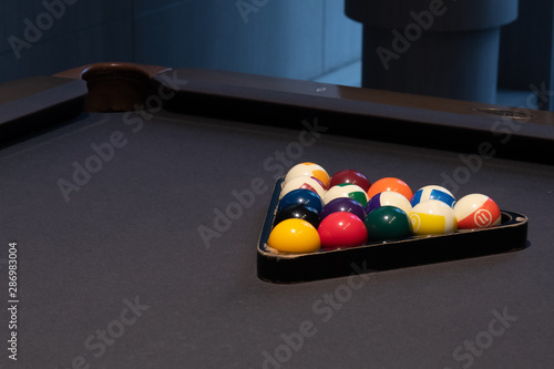Fototapeta Snooker and Billiard table with ball setup. background for pary and sport recreation obraz