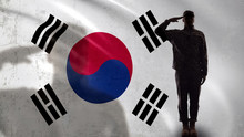 Korean Soldier Silhouette Saluting Against National Flag, Military Operation