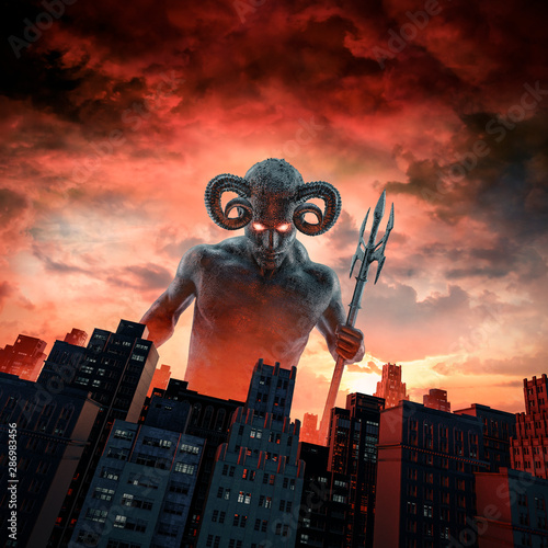 Cuadros en Lienzo Demon and the city / 3D illustration of horned devil with trident rising above c