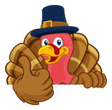 Fototapeta Fototapety na ścianę do pokoju dziecięcego - Pilgrim Turkey Thanksgiving bird animal cartoon character wearing a pilgrims hat. Peeking over a background sign and giving a thumbs up
