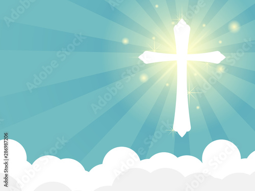 shining white cross with ray of light on cloud Tablou Canvas