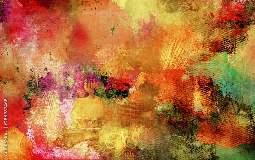 Fototapeta herbstfarben texturen malerei farben banner