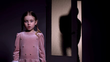 Scared Girl Alone In Darkness,...