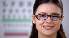 Smiling Girl In Glasses Looking At Camera, Template For Text, Vision Treatment