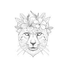 Puma With Floral Wreath Hand Drawn Sketch. African Predator Cat Face Black Ink Illustration. Decorative Exotic Foliage, Blossom Engraving. Monochrome Feline Hunter For Postcard, Greeting Card Design