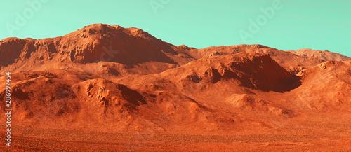 Recess Fitting Brick Mars landscape, 3d render of imaginary mars planet terrain, science fiction illustration.