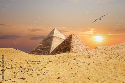 The Pyramids of Giza, view from the sand-dune #286998800