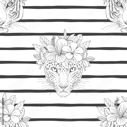 Canvas Print Leopard head with flower wreath seamless pattern