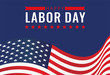 United States Labor Day banner with flying American national flag. Vector illustration.