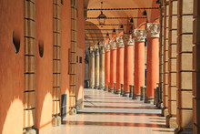 Typical Portico In Bologna, Italy.
