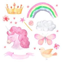 Watercolor Pink Unicorn Illust...