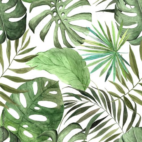 Cuadros en Lienzo Watercolor jungle seamless patterns