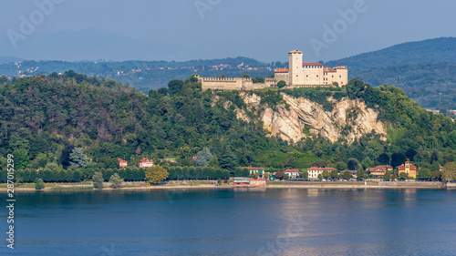 The beautiful Rocca di Angera Varese dominates the southern part of Lake Maggior Fototapeta
