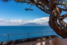 Italy, Sorrento, View Of Vesuvius Seen From The Coast