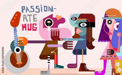 La pose en embrasure Art abstrait Passionate Hug vector illustration