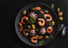 Black Spaghetti. Black Seafood...
